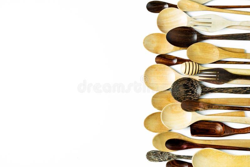 Träredskapbestick för blandat olikt kök fotografering för bildbyråer