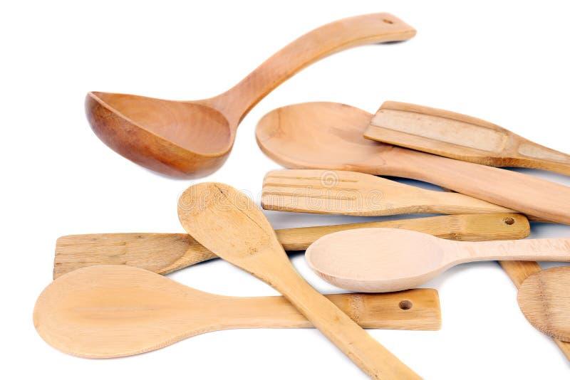 Träredskapbestick för olikt kök. royaltyfri fotografi