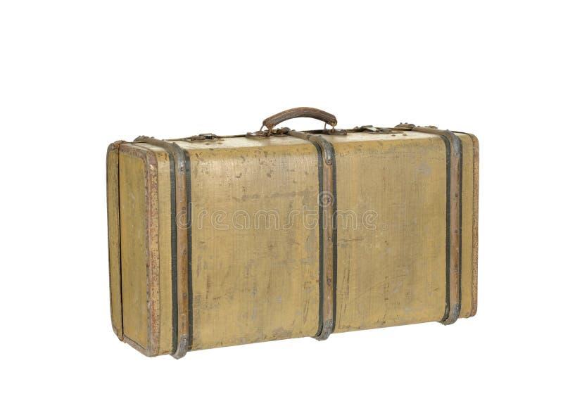 Träresväska för gammal tappning som isoleras på vit royaltyfri bild