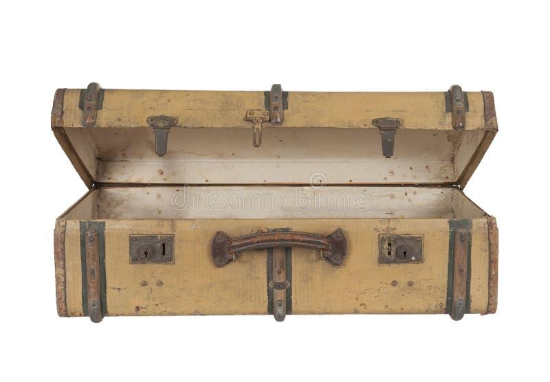 Träresväska för gammal tappning som isoleras på vit fotografering för bildbyråer