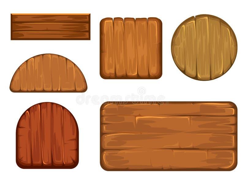 Träretro etikettvektoruppsättning Olika former av det wood teckenbrädet stock illustrationer