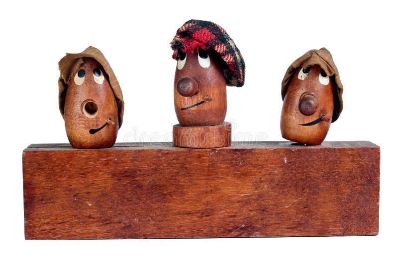 träroliga huvud tre royaltyfria foton