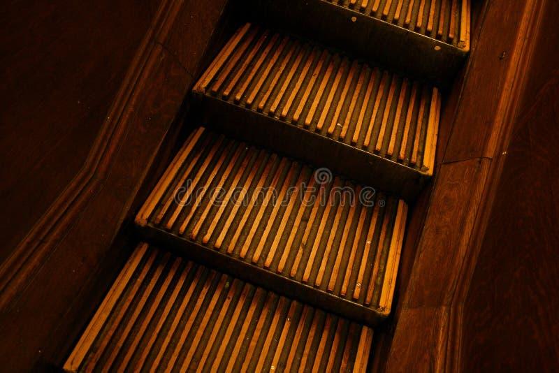 trärulltrappa arkivbild