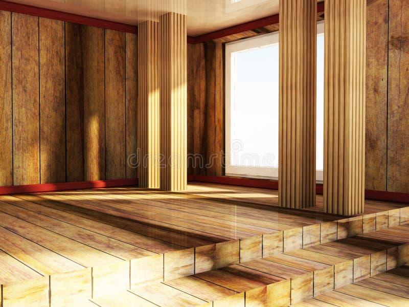 Trärum för tom loft stock illustrationer