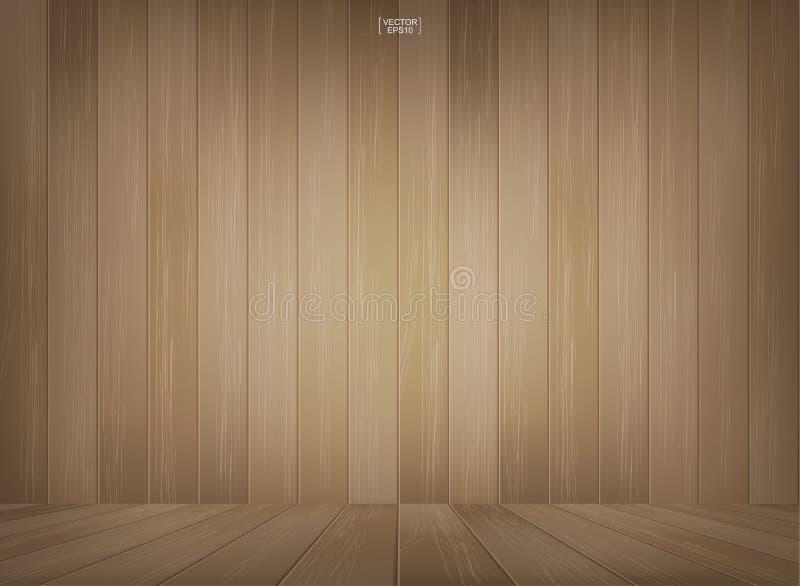 Trärumutrymmebakgrund med perspektivträgolvet stock illustrationer
