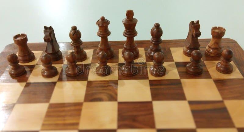 Träschackstycke på schackbrädet som är klart att spela royaltyfria bilder
