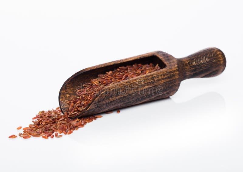 Träsked av rå organiska röda ris på vit bakgrund sund mat royaltyfri fotografi