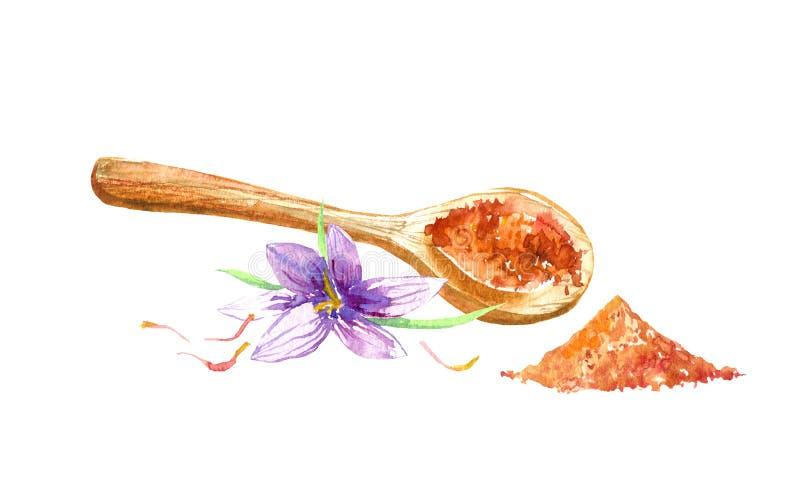 Träsked, currykryddor och saffran vattenf?rg stock illustrationer