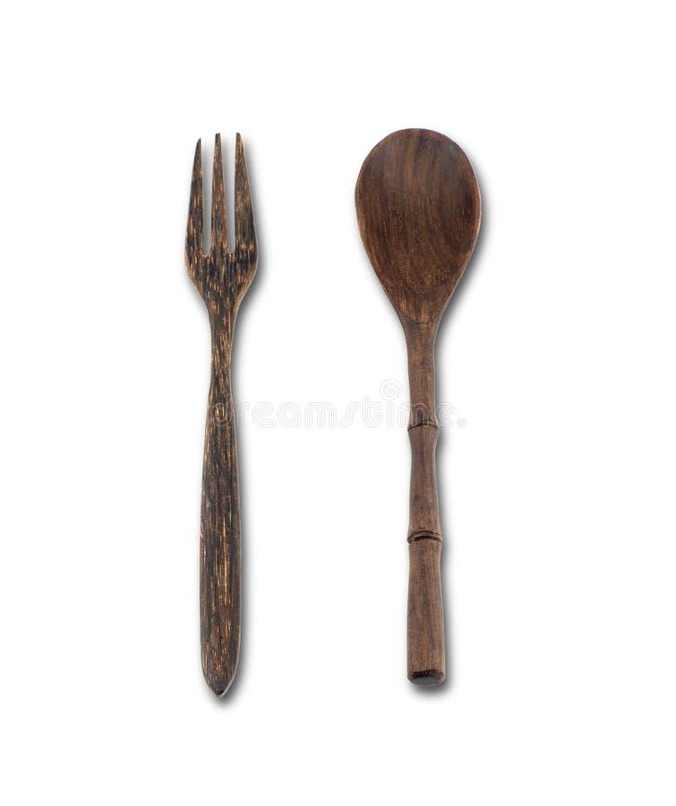 Träsked och gaffel royaltyfria foton