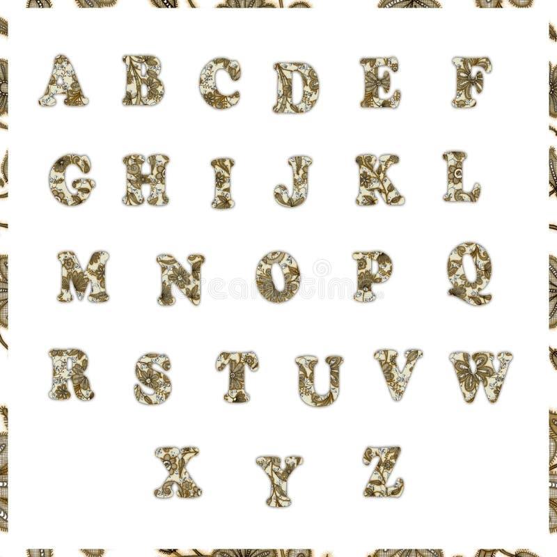 Träskobokstäver på vit bakgrund Alfabet av bokstäver med den blom- modellen royaltyfri foto