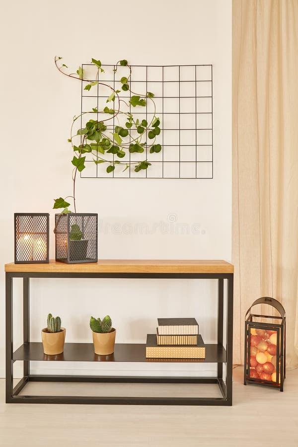 Träskrivbord med växter arkivfoton