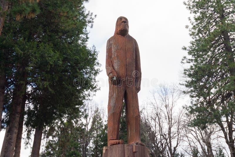 Träskulptur och skulptur av Sasquatch/Bigfoot royaltyfri fotografi