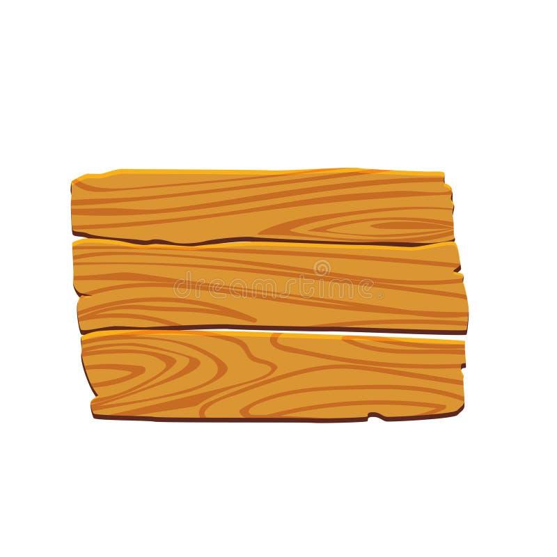 Träskylt, platta Knapp för lekar eller plats Träpekare i tappningstil Vagel för vektorillustrationtecknad film stock illustrationer