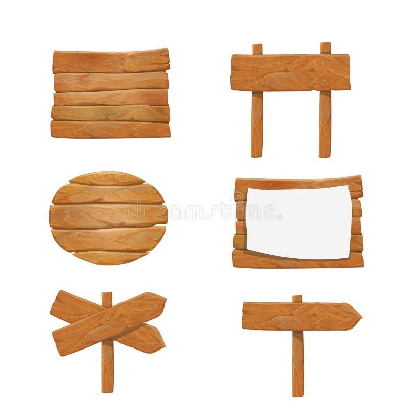 Träskyltar, för piltecken för vektor wood uppsättning för affischtavla royaltyfri illustrationer