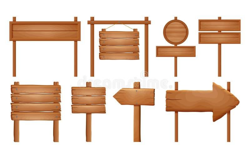 Träskyltar, wood pilteckenuppsättning Tom skyltbanersamling som isoleras på vit bakgrund Träteckenbräden och arr vektor illustrationer