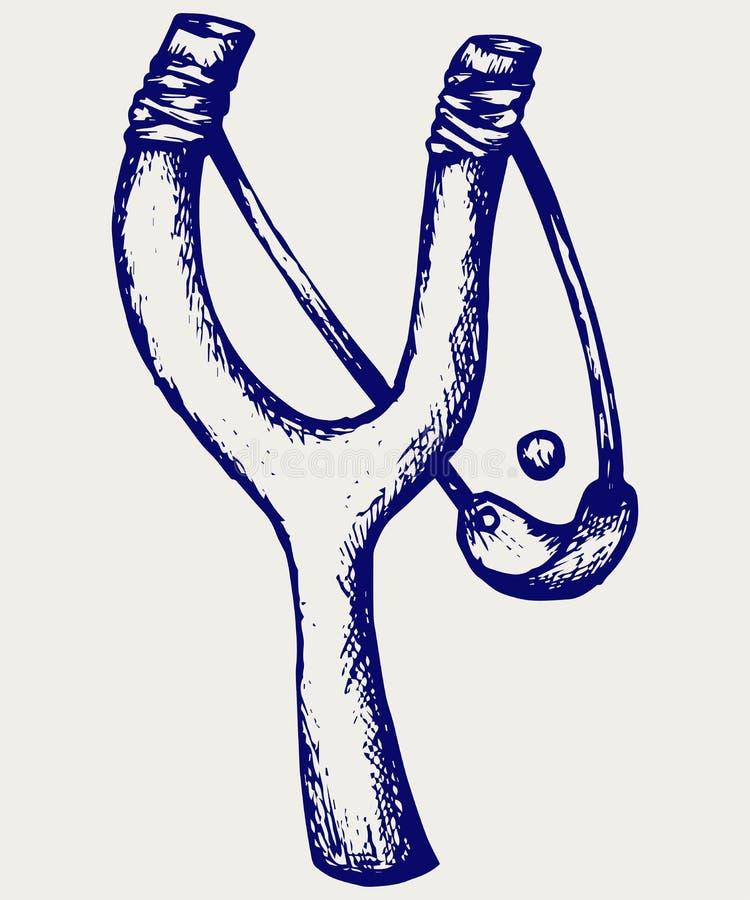 Träslangbågekatapult royaltyfri illustrationer