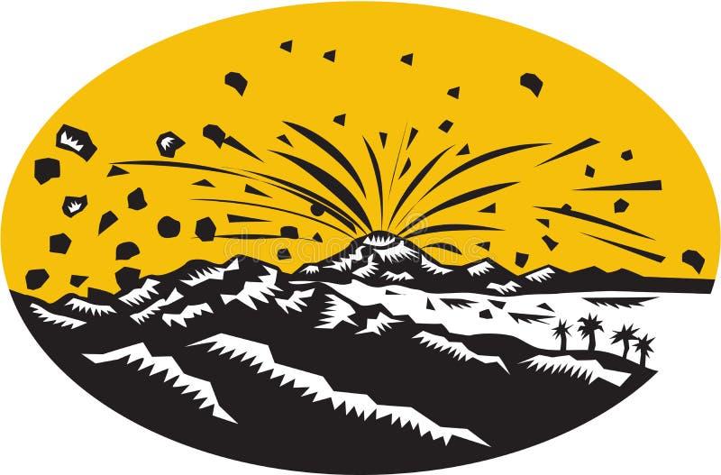 Träsnitt för Oval för vulkanutbrottöbildande royaltyfri illustrationer
