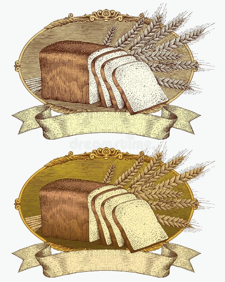 träsnitt för vete för brödetikettstil stock illustrationer