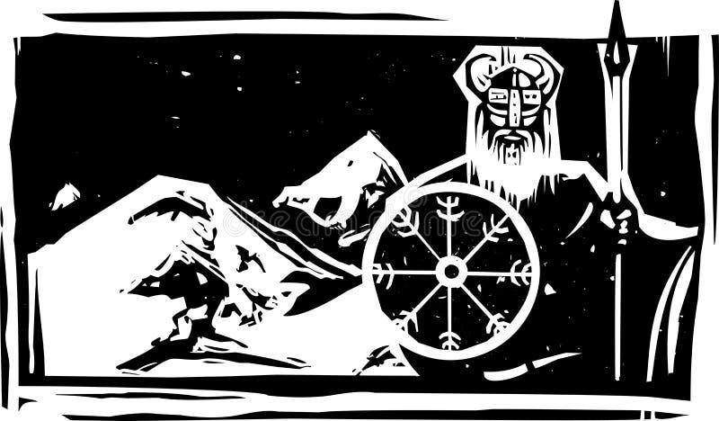 Träsnitt Viking och berg vektor illustrationer