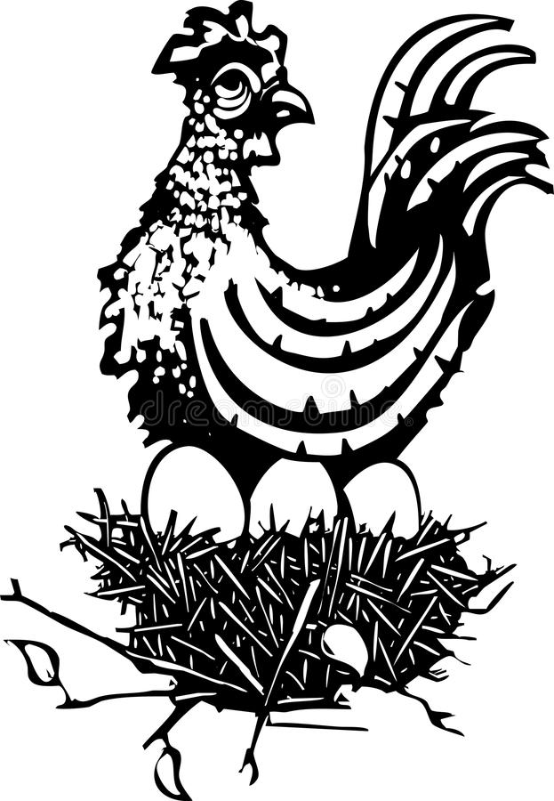 Träsnitthöna på rede stock illustrationer