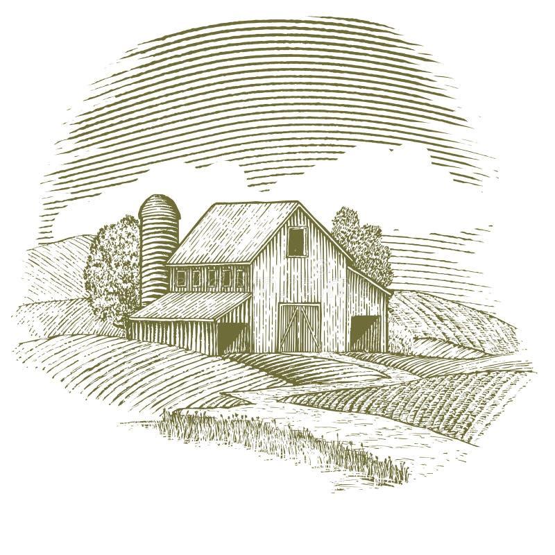 Träsnittladugård royaltyfri illustrationer