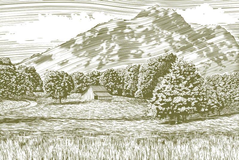 Träsnittladugård- och berglandskap royaltyfri illustrationer