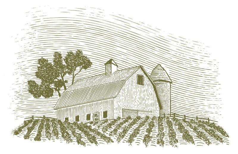 Träsnittladugård och silo royaltyfri illustrationer
