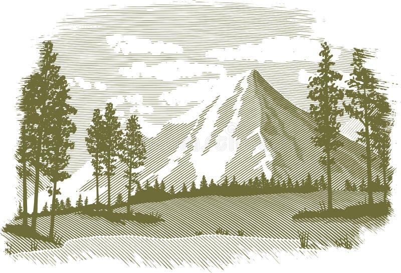 Träsnittladugårdgård vektor illustrationer