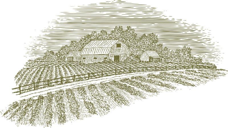 Träsnittlantgårdväg vektor illustrationer