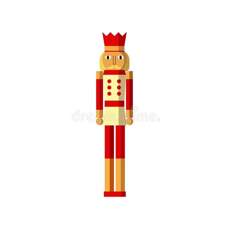 Träsoldat För tappningjul för nötknäppare färgrika leksaker stock illustrationer