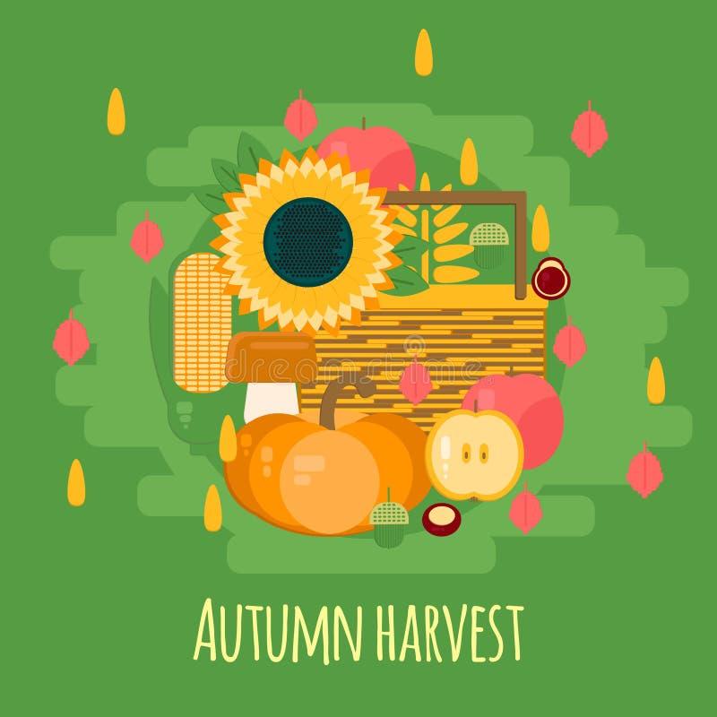 Träspjällåda med höstfrukter och grönsaker royaltyfri illustrationer