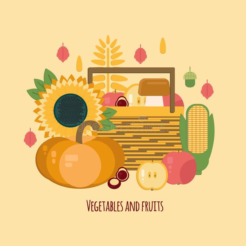Träspjällåda med höstfrukter och grönsaker vektor illustrationer