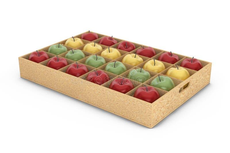 Träspjällådaask med röda och gröna äpplen för guling, framförande 3d vektor illustrationer