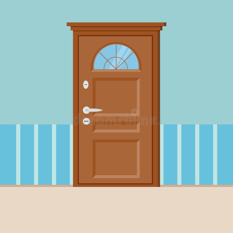 Trästängd dörr med ramen som isoleras på väggen vektor illustrationer