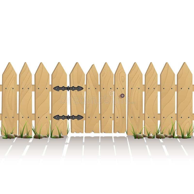 Trästaket med porten vektor illustrationer