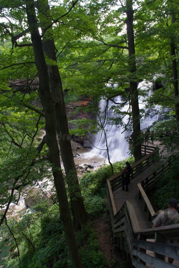 Trästrandpromenad som ner leder till Brandywine nedgångar, Cuyahoga nationalpark, Akron, Ohio royaltyfri foto