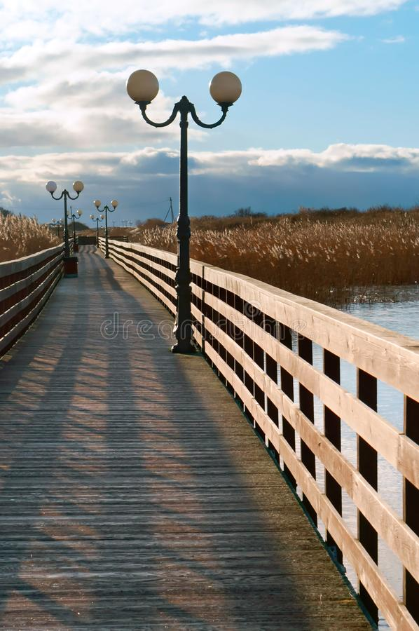 Trästrandpromenad till och med vasserna i solljuset, en träplankapromenad med lyktstolpar arkivfoton