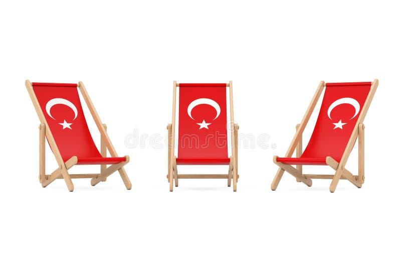 Trästrandstol med turkisk flaggadesign framförande 3d royaltyfri illustrationer
