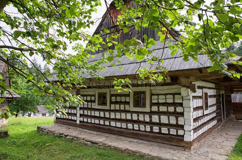 Trästuga i byn, Slovakien royaltyfri fotografi