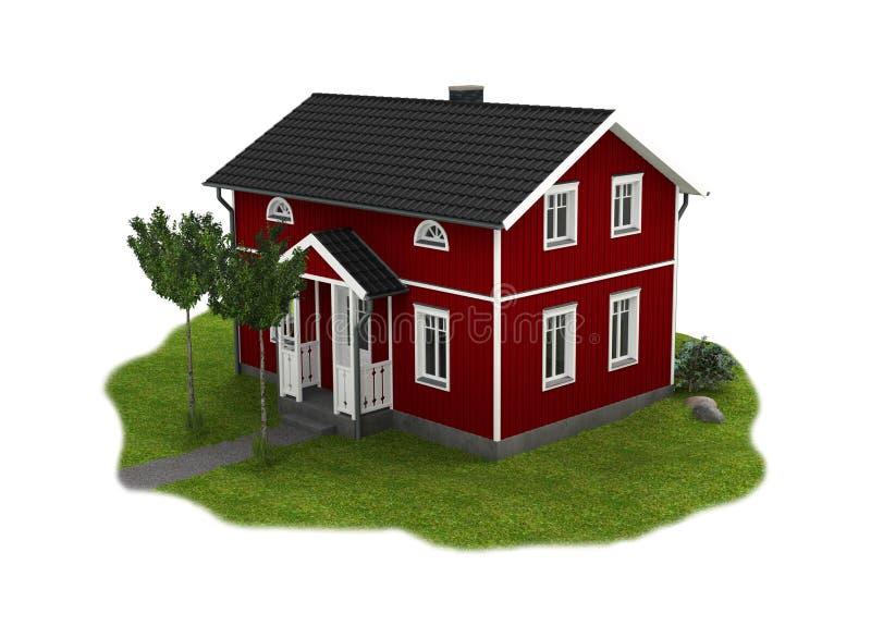 Trästuga med trädgården på vit bakgrund stock illustrationer