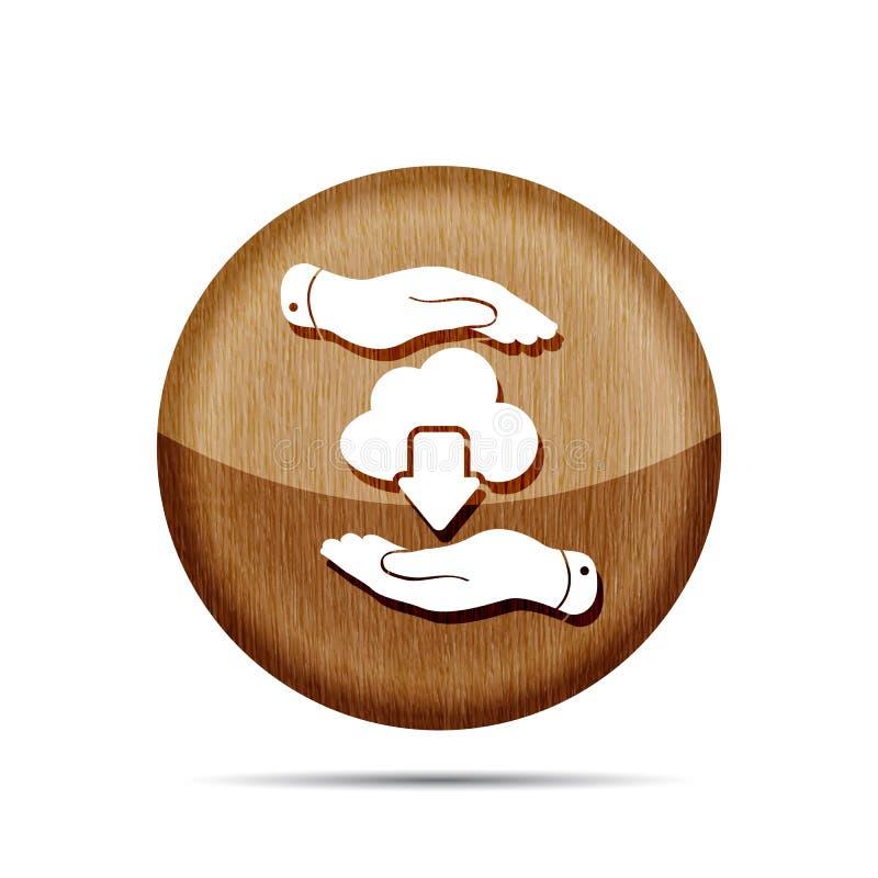 Träsymbol av händer med beräknande nedladdning för moln Vektorillus stock illustrationer