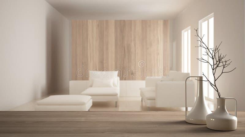 Trätabellöverkant eller hylla med minimalistic moderna vaser över suddig minimalist modern vardagsrum, vit inredesign royaltyfria foton