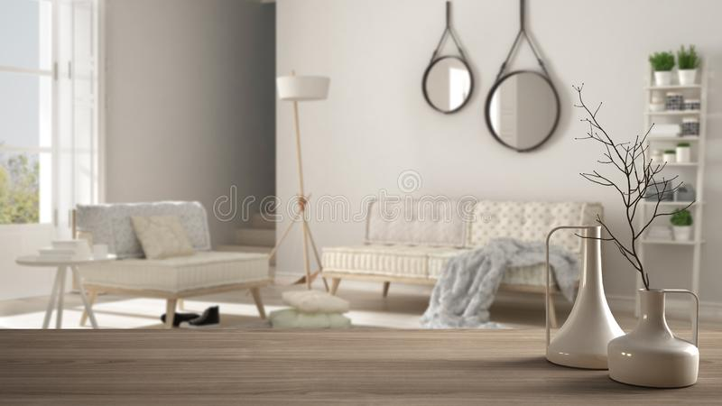 Trätabellöverkant eller hylla med minimalistic moderna vaser över suddig minimalist scandinavian vardagsrum, vit inre vektor illustrationer