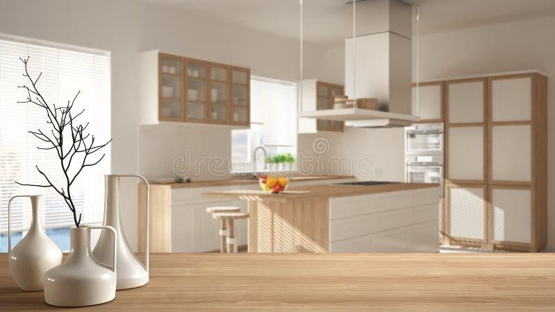 Trätabellöverkant eller hylla med minimalistic moderna vaser över suddigt minimalist modernt kök, vit arkitekturinredesig arkivfoton