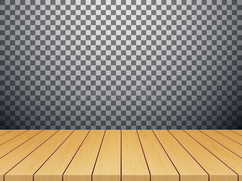 Trätabellöverkant som isoleras på genomskinlig bakgrundsvektor stock illustrationer