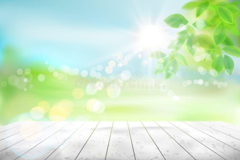 Trätabell i en grön trädgård mot bakgrund field blåa oklarheter för grön vitt wispy natursky för gräs också vektor för coreldrawi stock illustrationer