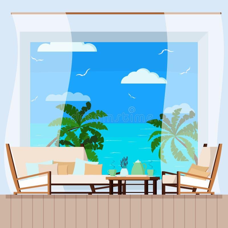 Trätabell, kopp te eller kaffe, gardin och mjuk soffa och fåtöljer på balkongen med seascape stock illustrationer