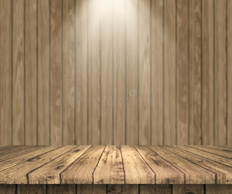 trätabell som 3D ut ser till en trävägg med strålkastareskenbenet royaltyfri illustrationer