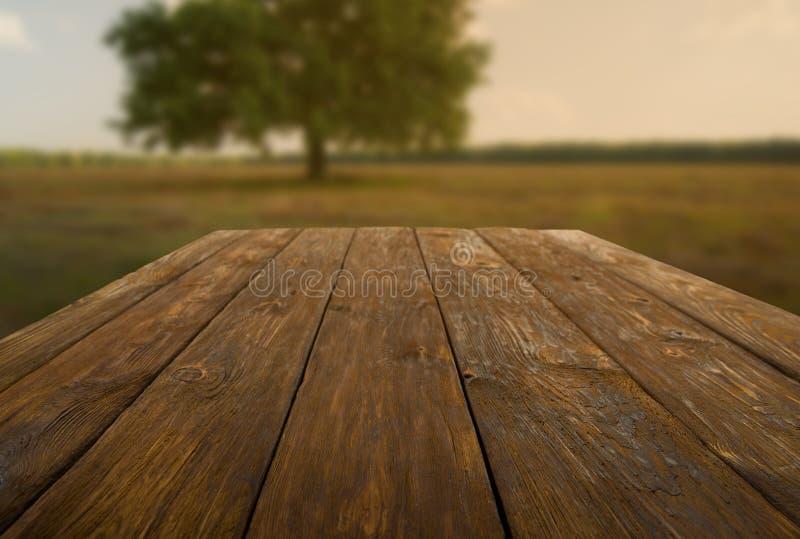 Trätabell utomhus med höstfältbakgrund fotografering för bildbyråer