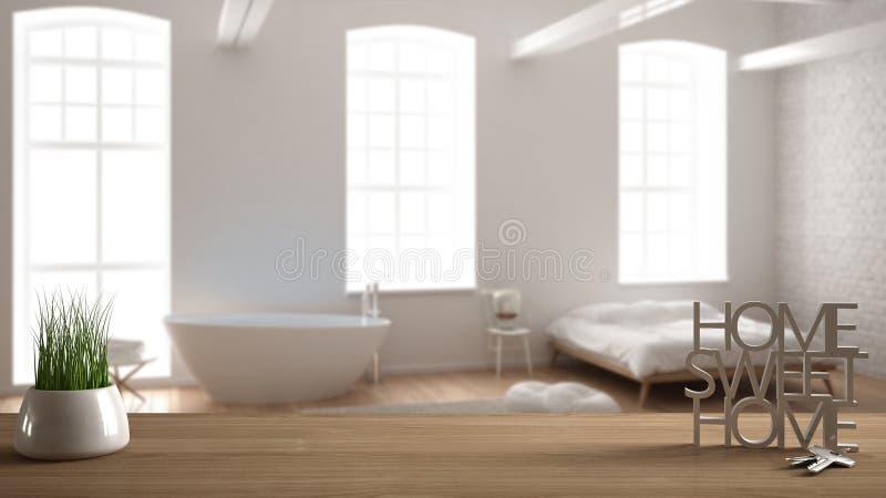 Trätabellen, skrivbordet eller hyllan med den inlagda gräsväxten, hustangenter och 3D märker framställning orden av det hem- söts arkivfoto